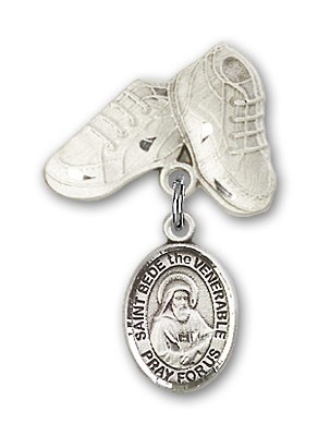 Pin Badge with St. Bede the Venerable Charm and Baby Boots Pin - Silver tone