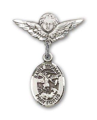Pin Badge with St. Michael the Archangel Charm and Angel with Smaller Wings Badge Pin - Silver tone