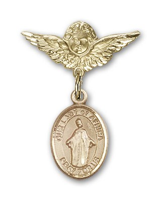 Pin Badge with Our Lady of Africa Charm and Angel with Smaller Wings Badge Pin - Gold Tone