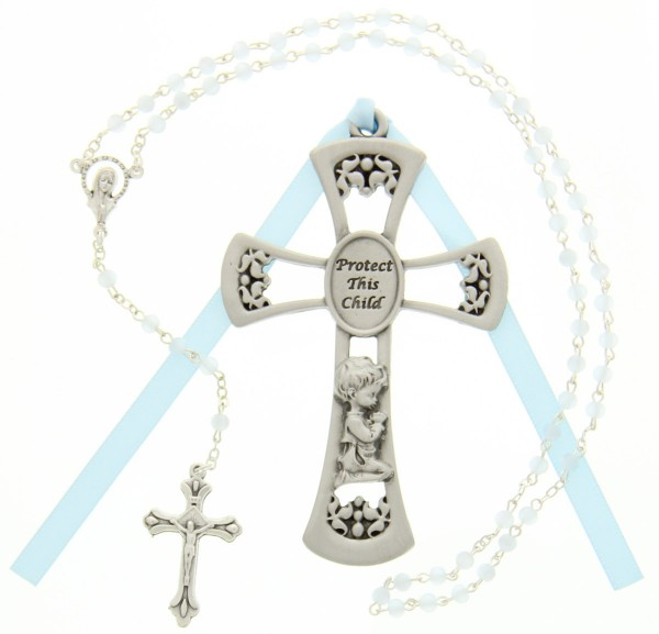 Protect This Child Cross with Baby Rosary Set - Boy - Silver