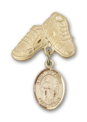 Pin Badge with St. Susanna Charm and Baby Boots Pin - Gold Tone