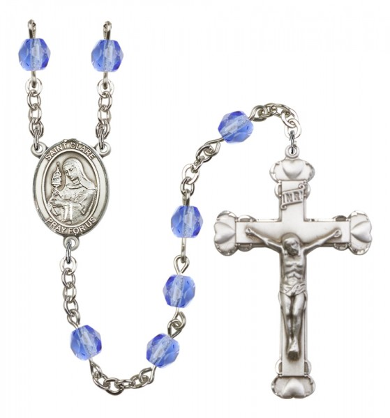 Women's St. Clare of Assisi Birthstone Rosary - Sapphire