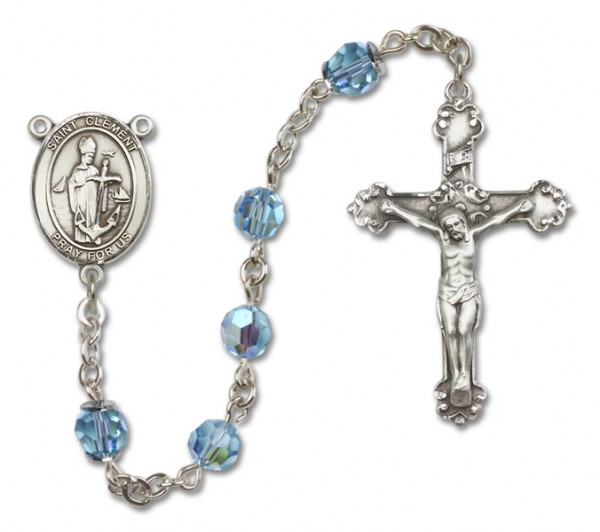 St. Clement Sterling Silver Heirloom Rosary Fancy Crucifix - Aqua