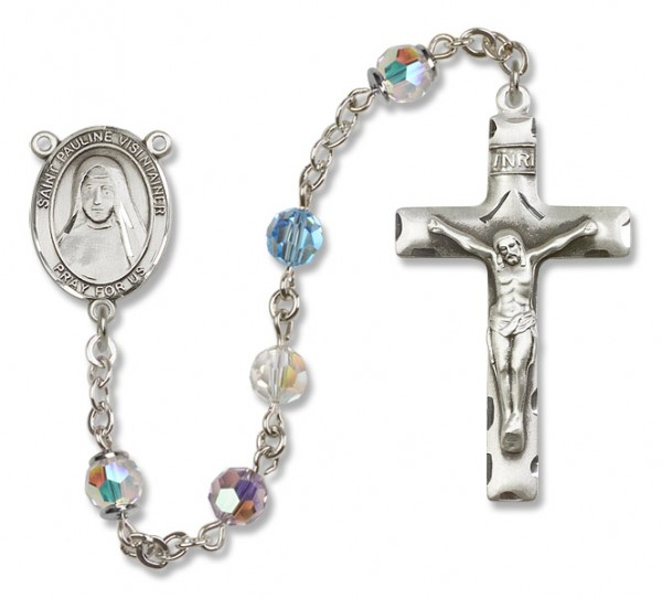 St. Pauline Visintainer Sterling Silver Heirloom Rosary Squared Crucifix - Multi-Color