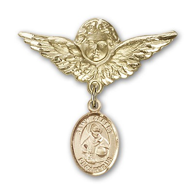 Pin Badge with St. Albert the Great Charm and Angel with Larger Wings Badge Pin - 14K Yellow Gold