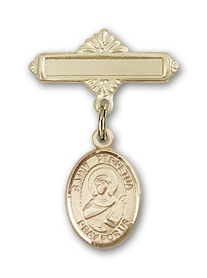 Pin Badge with St. Perpetua Charm and Polished Engravable Badge Pin - 14K Solid Gold