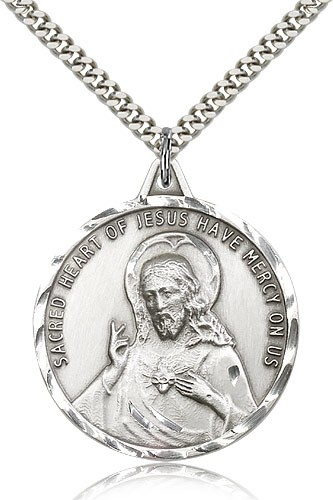 Men's Round Scapular Medal with Etched Border - Sterling Silver