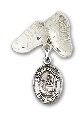 Pin Badge with St. Catherine of Siena Charm and Baby Boots Pin - Silver tone