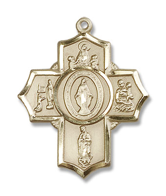 Our Lady Apparitions 5 Way Pendant - 14KT Gold Filled