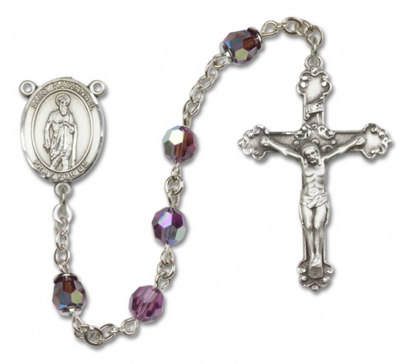 St. Nathanael Sterling Silver Heirloom Rosary Fancy Crucifix - Amethyst