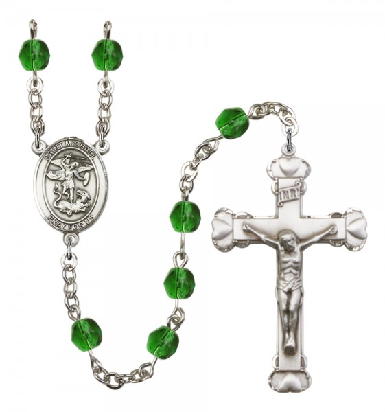 Women's St. Michael the Archangel Birthstone Rosary - Emerald Green