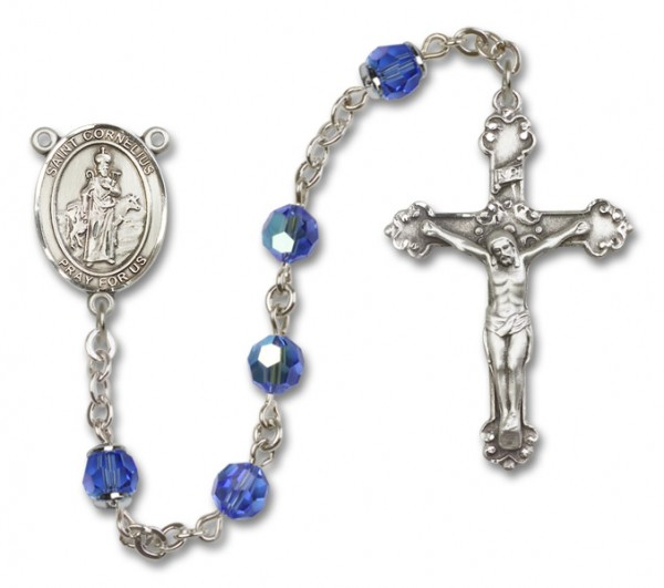St. Cornelius Sterling Silver Heirloom Rosary Fancy Crucifix - Sapphire