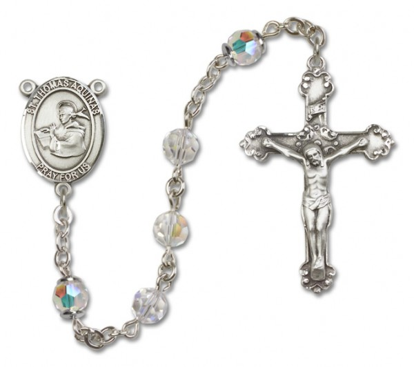 St. Thomas Aquinas Rosary Heirloom Fancy Crucifix - Crystal