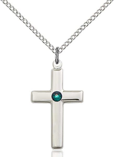 Youth Simple Cross Pendant with Birthstone Options - Emerald Green