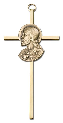 "Sacred Heart of Jesus Wall Cross 6"" - Gold Tone"
