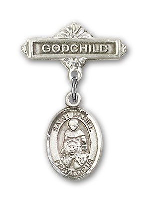 Pin Badge with St. Daniel Charm and Godchild Badge Pin - Silver tone
