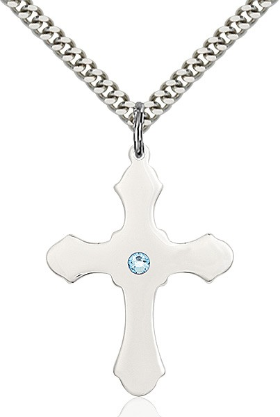 Large High Polished Soft Edge Cross Pendant with Birthstone Options - Aqua