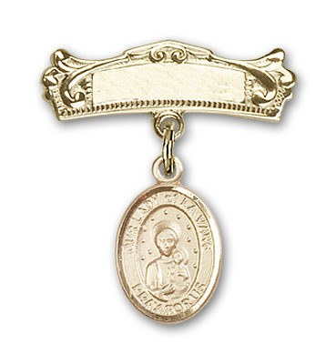 Pin Badge with Our Lady of la Vang Charm and Arched Polished Engravable Badge Pin - Gold Tone