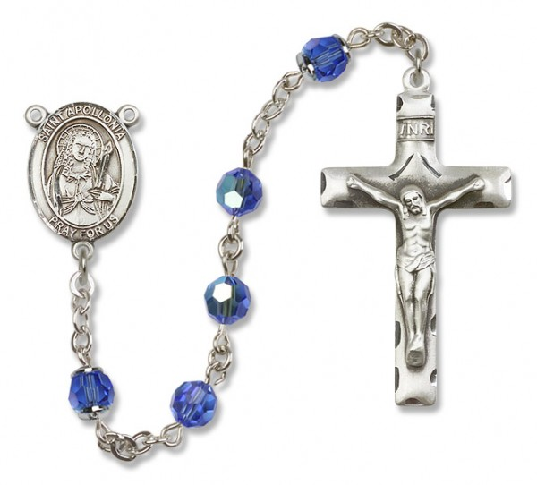 St. Apollonia Rosary Heirloom Squared Crucifix - Sapphire