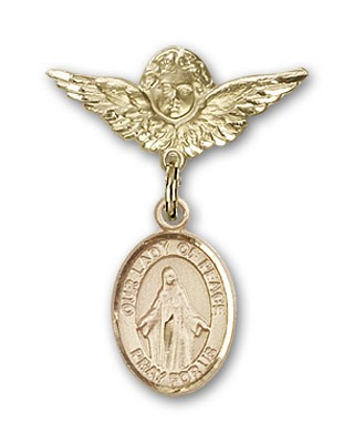 Pin Badge with Our Lady of Peace Charm and Angel with Smaller Wings Badge Pin - 14K Yellow Gold