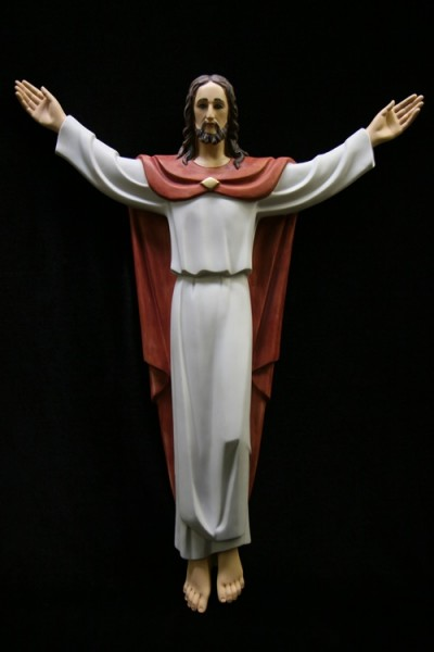 Risen Christ Statue Marble Composite - 32 inch - Red | White