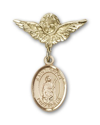Pin Badge with St. Grace Charm and Angel with Smaller Wings Badge Pin - 14K Solid Gold