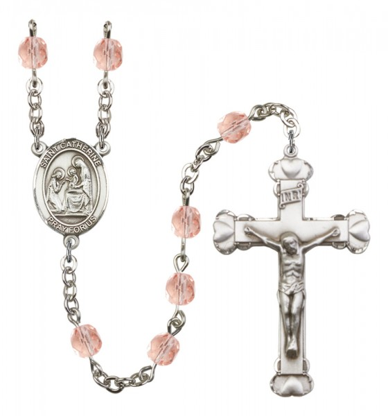 Women's St. Catherine of Siena Birthstone Rosary - Pink