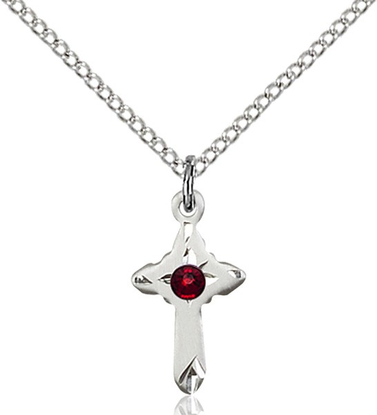 Child's Pointed Edge Cross Pendant with Birthstone Options - Garnet