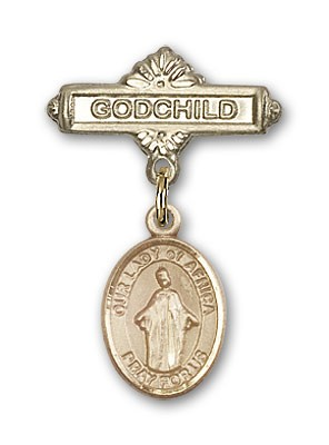 Baby Badge with Our Lady of Africa Charm and Godchild Badge Pin - 14K Yellow Gold