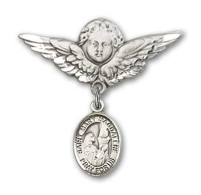 Pin Badge with St. Mary Magdalene Charm and Angel with Larger Wings Badge Pin - Silver tone