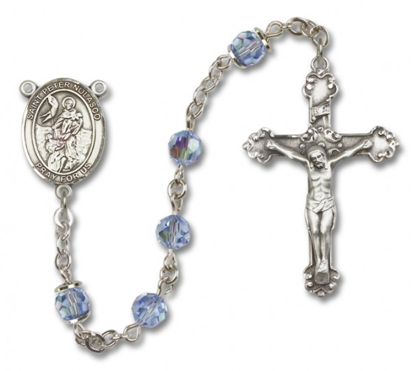 St. Peter Nolasco Sterling Silver Heirloom Rosary Fancy Crucifix - Light Amethyst