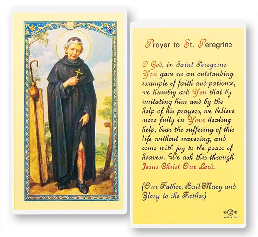 Prayer To St. Peregrine Laminated Prayer Cards 25 Pack - Full Color