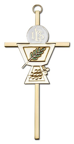 "First Communion Chalice and Holy Host Wall Cross 6""  - Gold Tone"