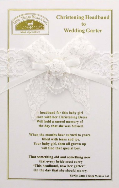 Christening Headband to Wedding Garter - White