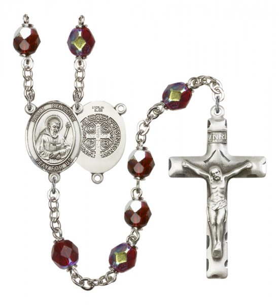 Men's St. Benedict Silver Plated Rosary - Garnet