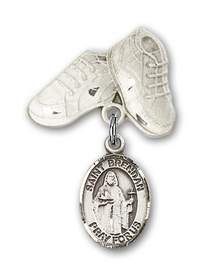 Pin Badge with St. Brendan the Navigator Charm and Baby Boots Pin - Silver tone