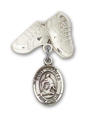 Pin Badge with St. Charles Borromeo Charm and Baby Boots Pin - Silver tone