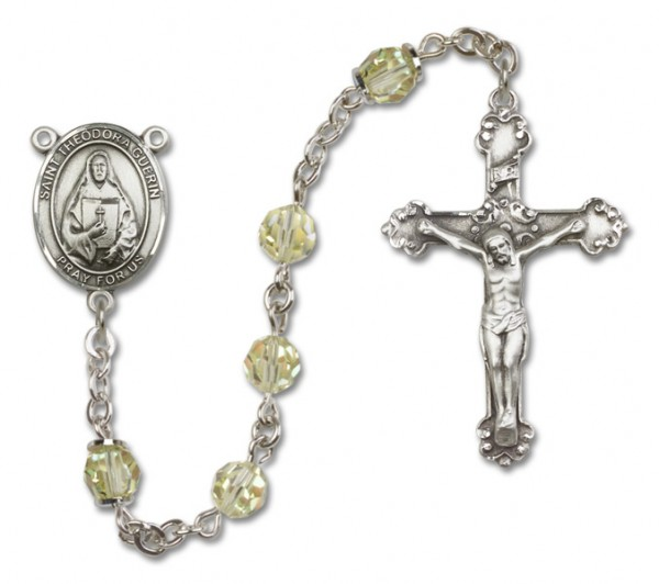 St. Theodore Guerin Rosary Heirloom Fancy Crucifix - Jonquil