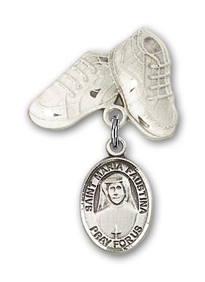 Pin Badge with St. Maria Faustina Charm and Baby Boots Pin - Silver tone