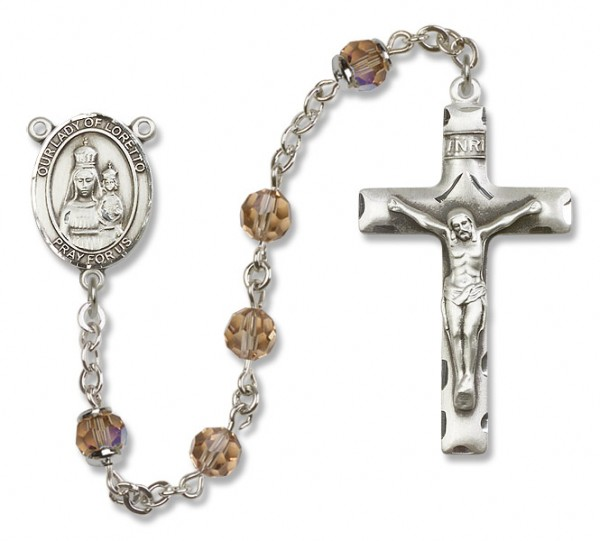 Our Lady of Loretto Rosary Heirloom Squared Crucifix - Topaz