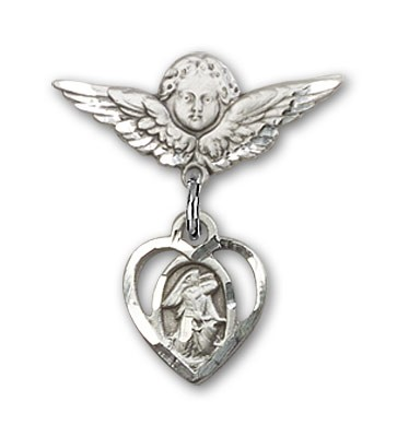 Pin Badge with Guardian Angel Charm and Angel with Smaller Wings Badge Pin - Silver tone
