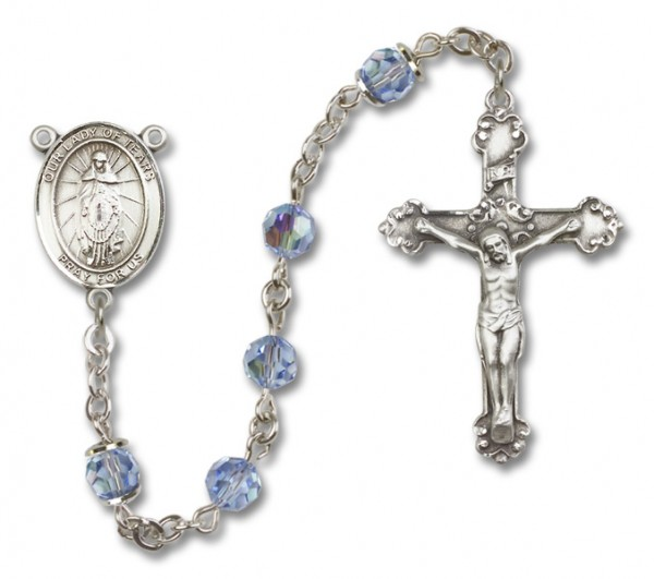 Our Lady of Tears Sterling Silver Heirloom Rosary Fancy Crucifix - Light Amethyst