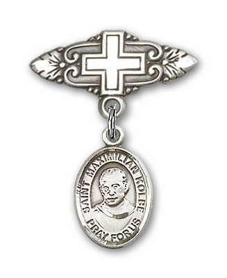 Pin Badge with St. Maximilian Kolbe Charm and Badge Pin with Cross - Silver tone