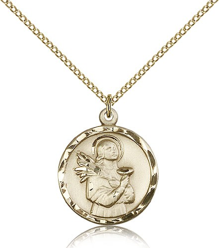 Women's Round St. Lucy Medal - 14KT Gold Filled