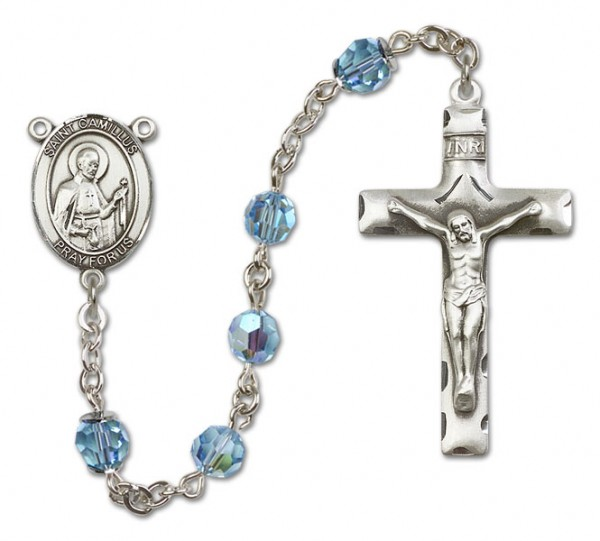 St. Camillus of Lellis Sterling Silver Heirloom Rosary Squared Crucifix - Aqua