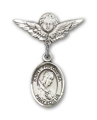 Pin Badge with St. Philomena Charm and Angel with Smaller Wings Badge Pin - Silver tone