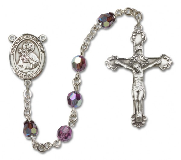 Our Lady of Mount Carmel Sterling Silver Heirloom Rosary Fancy Crucifix - Amethyst
