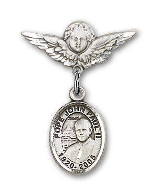 Pin Badge with Pope John Paul II Charm and Angel with Smaller Wings Badge Pin - Silver tone