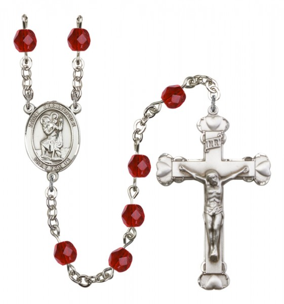 Women's St. Christopher Birthstone Rosary - Ruby Red