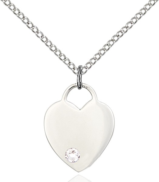 Small Heart Shaped Pendant with Birthstone Options - Crystal